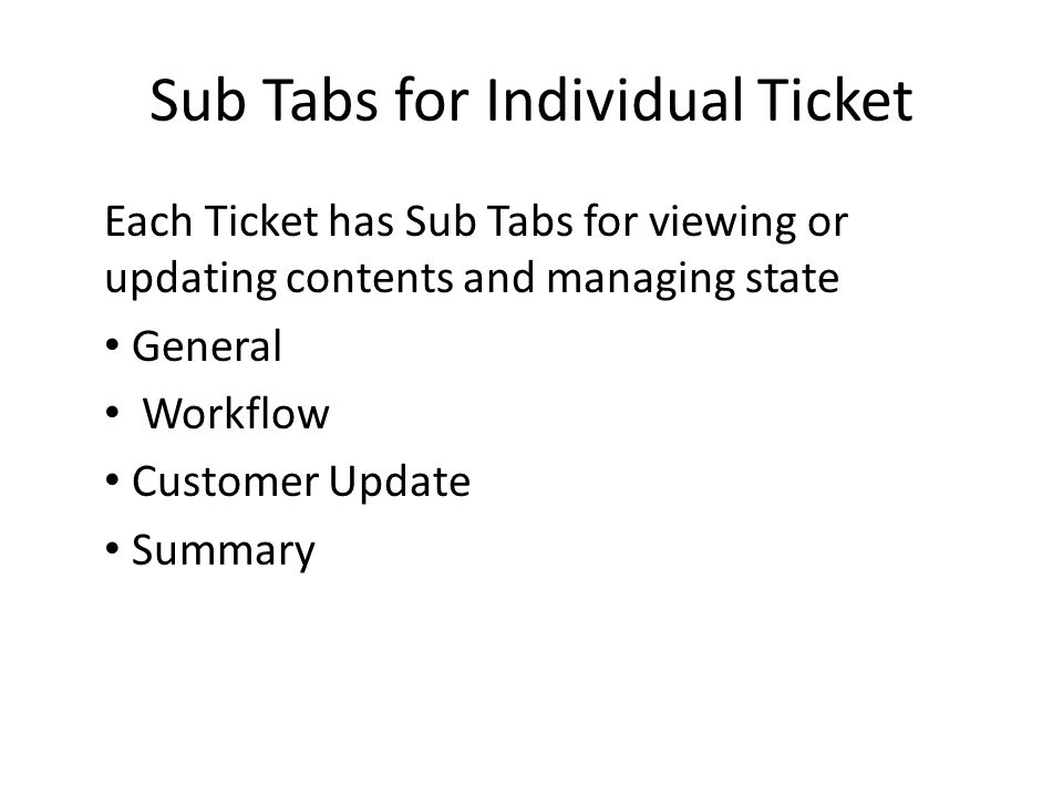 Sub Tabs for Individual Ticket Each Ticket has Sub Tabs for viewing or updating contents and managing state General Workflow Customer Update Summary