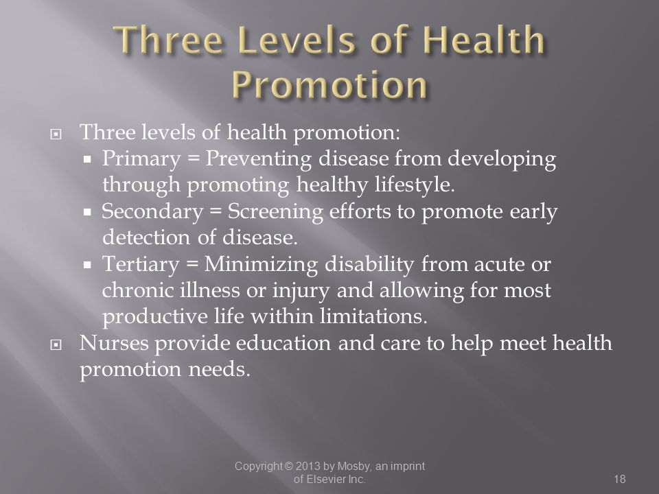  Three levels of health promotion:  Primary = Preventing disease from developing through promoting healthy lifestyle.