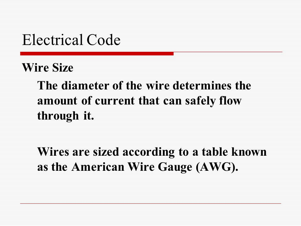 Skilled trades 1201 provincial electrical code electrical code wire electrical code wire size the diameter of the wire determines the amount of current that can greentooth Images
