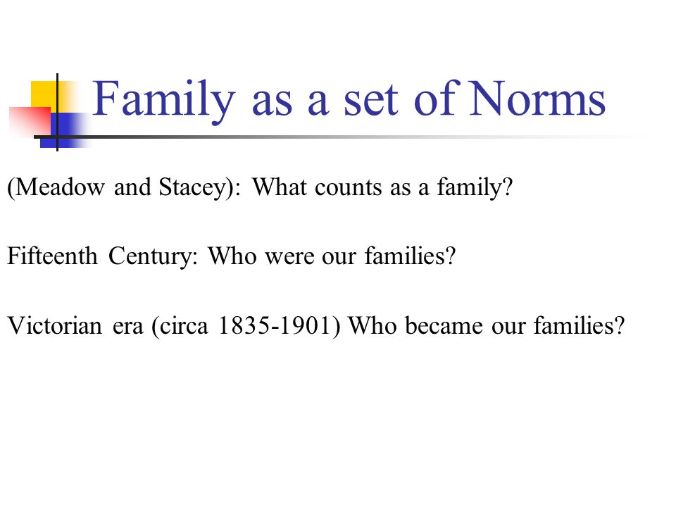 Family as a set of Norms (Meadow and Stacey): What counts as a family.