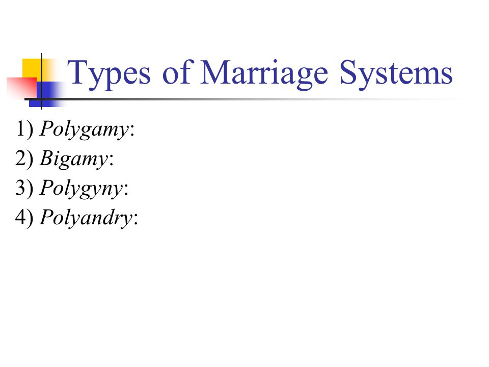 Types of Marriage Systems 1) Polygamy: 2) Bigamy: 3) Polygyny: 4) Polyandry: