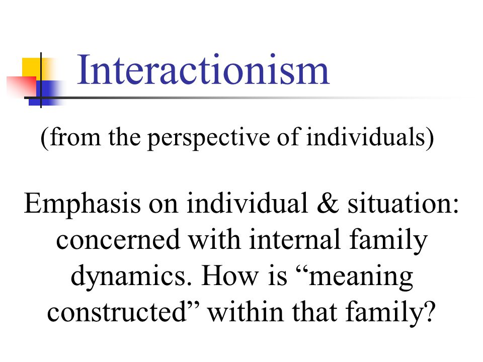 Interactionism (from the perspective of individuals) Emphasis on individual & situation: concerned with internal family dynamics.