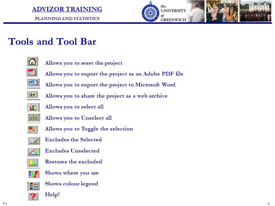 Planning and Statistics ADVIZOR TRAINING PLANNING AND STATISTICS V 1