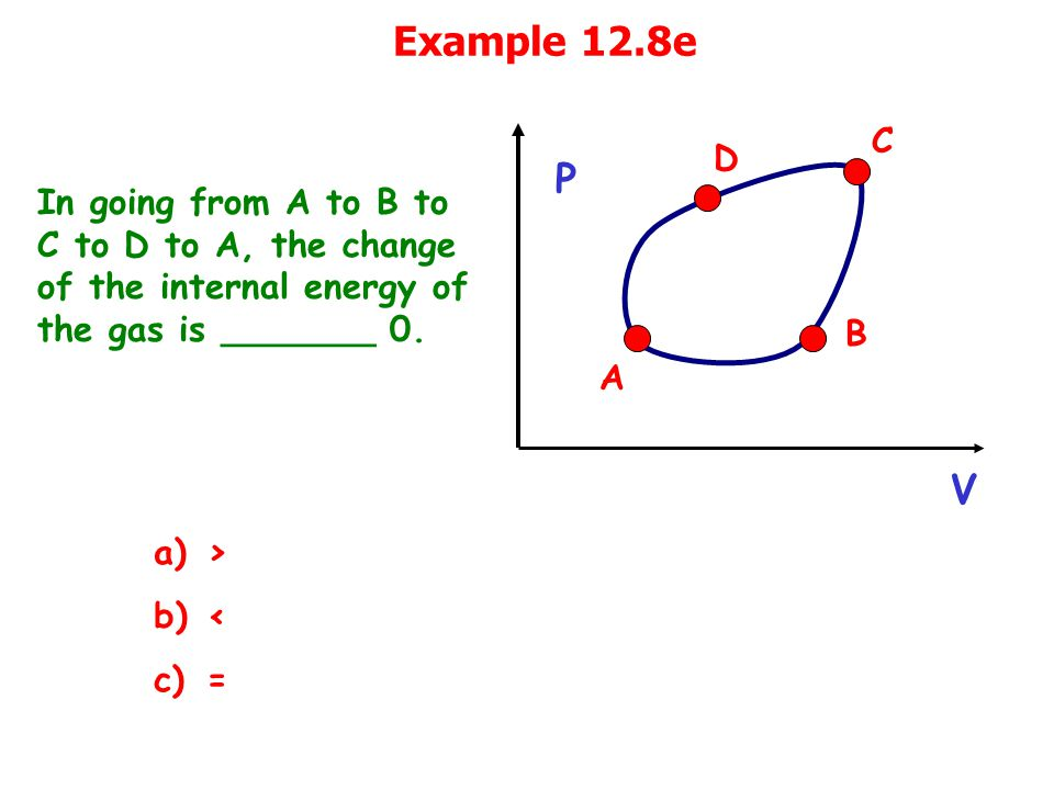 Example 12.8e In going from A to B to C to D to A, the change of the internal energy of the gas is _______ 0.
