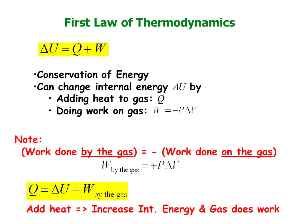 First Law of Thermodynamics Note: (Work done by the gas) = - (Work done on the gas) Conservation of Energy Can change internal energy  U by Adding heat to gas: Q Doing work on gas: Add heat => Increase Int.