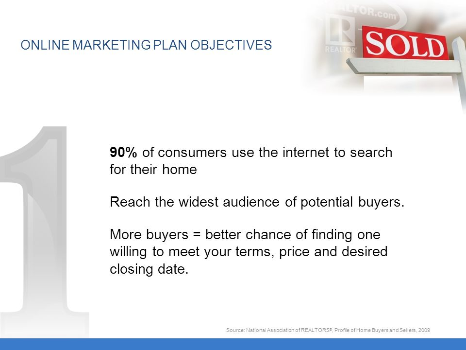 90% of consumers use the internet to search for their home Reach the widest audience of potential buyers.