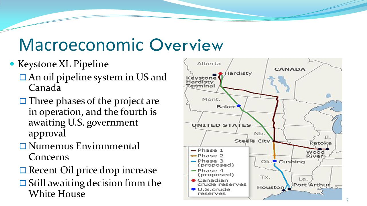 Macroeconomic Overview Keystone XL Pipeline  An oil pipeline system in US and Canada  Three phases of the project are in operation, and the fourth is awaiting U.S.