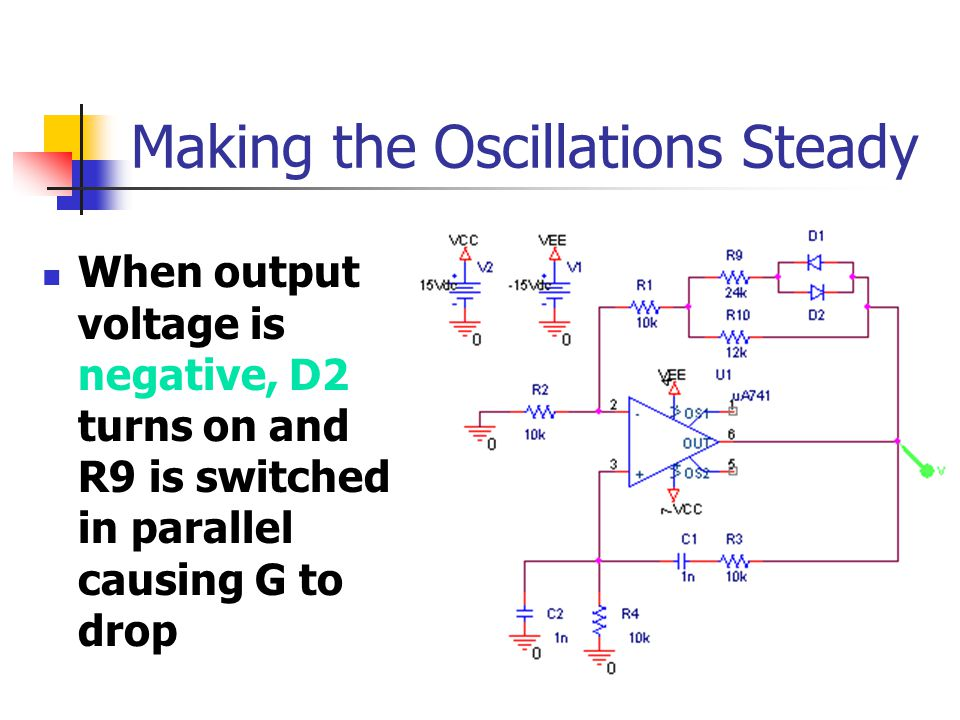Making the Oscillations Steady When output voltage is negative, D2 turns on and R9 is switched in parallel causing G to drop