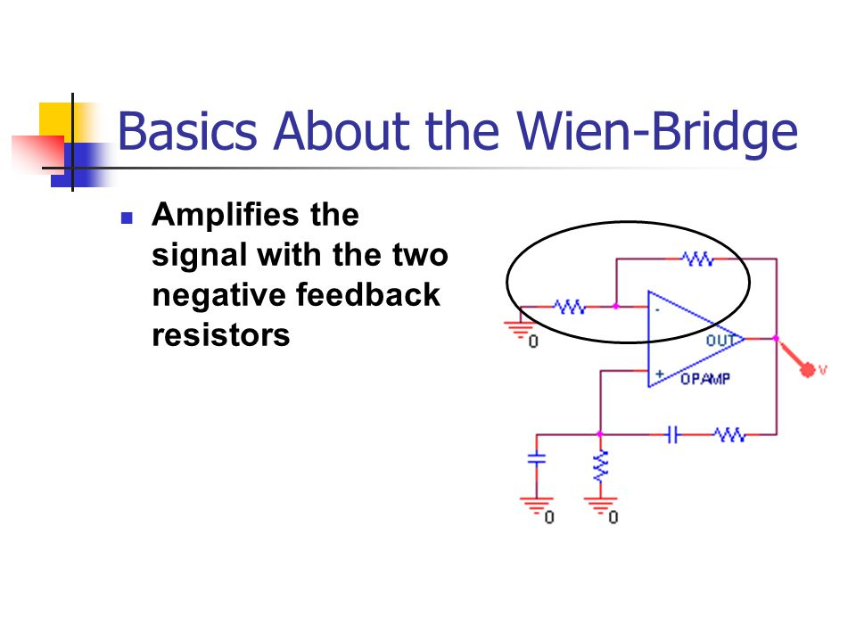 Basics About the Wien-Bridge Amplifies the signal with the two negative feedback resistors