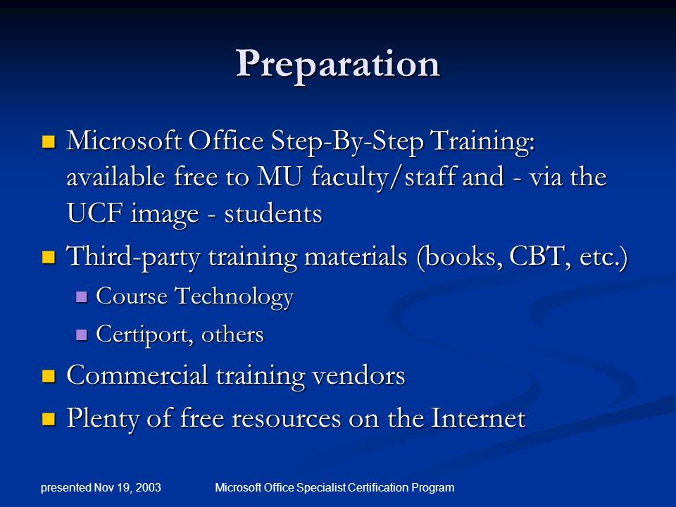 Microsoft Office Specialist Certification Presented By Chuck Elliott