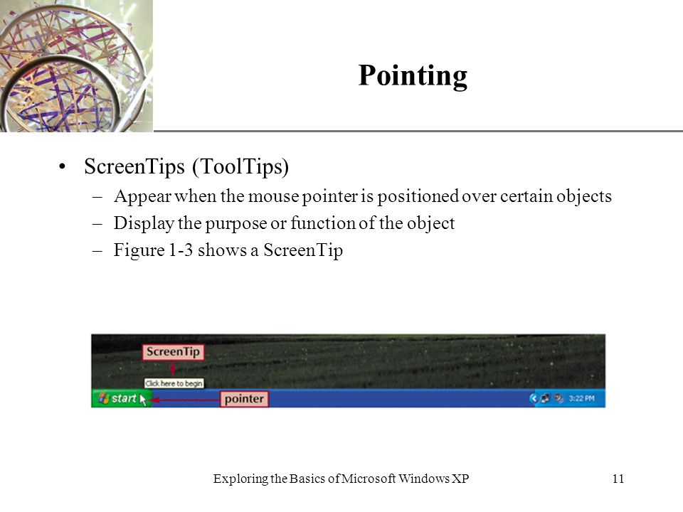 XP Exploring the Basics of Microsoft Windows XP11 Pointing ScreenTips (ToolTips) –Appear when the mouse pointer is positioned over certain objects –Display the purpose or function of the object –Figure 1-3 shows a ScreenTip