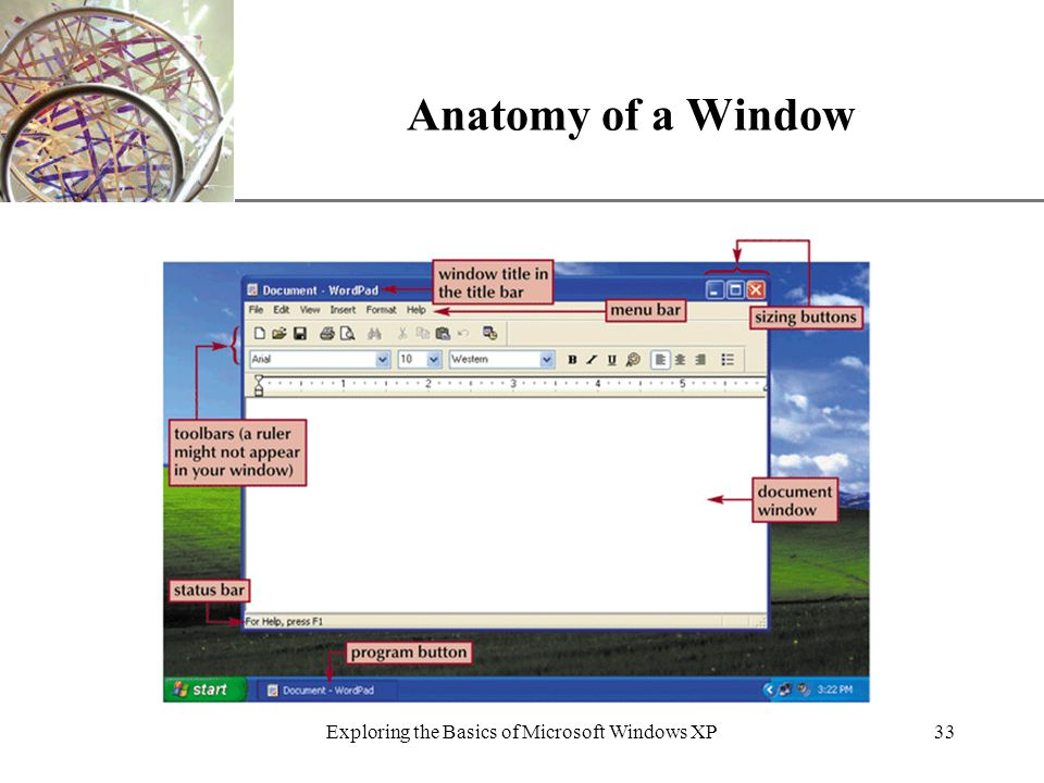 XP Exploring the Basics of Microsoft Windows XP33 Anatomy of a Window