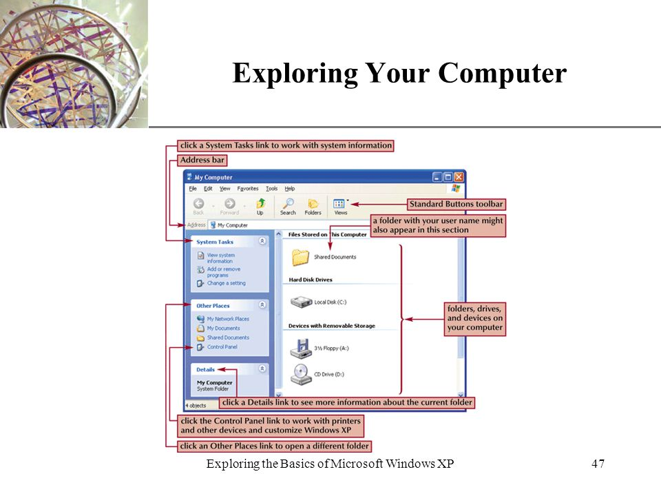 XP Exploring the Basics of Microsoft Windows XP47 Exploring Your Computer