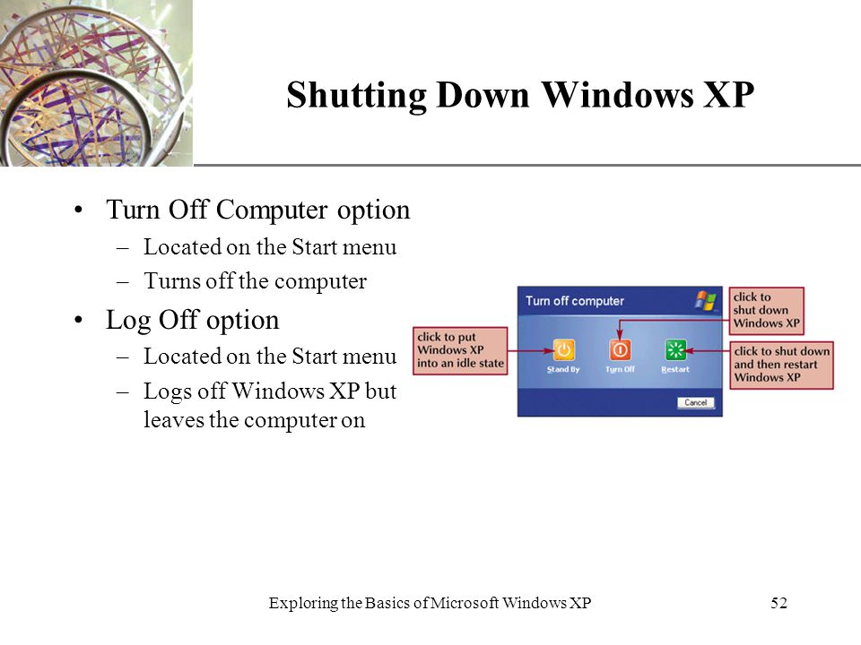 XP Exploring the Basics of Microsoft Windows XP52 Shutting Down Windows XP Turn Off Computer option –Located on the Start menu –Turns off the computer Log Off option –Located on the Start menu –Logs off Windows XP but leaves the computer on