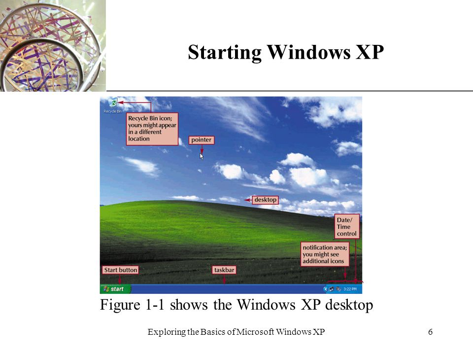 XP Exploring the Basics of Microsoft Windows XP6 Starting Windows XP Figure 1-1 shows the Windows XP desktop