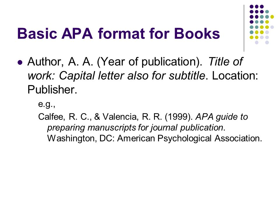 Basic APA format for Books Author, A. A. (Year of publication).