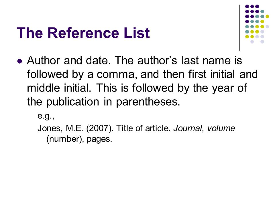 The Reference List Author and date.