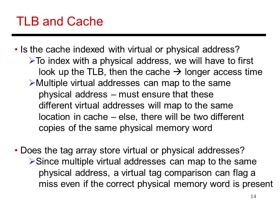 14 TLB and Cache Is the cache indexed with virtual or physical address.