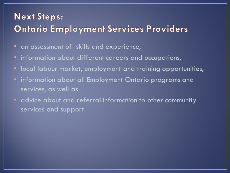 an assessment of skills and experience, information about different careers and occupations, local labour market, employment and training opportunities, information about all Employment Ontario programs and services, as well as advice about and referral information to other community services and support