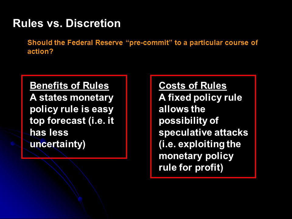 Rules vs. Discretion Should the Federal Reserve pre-commit to a particular course of action.