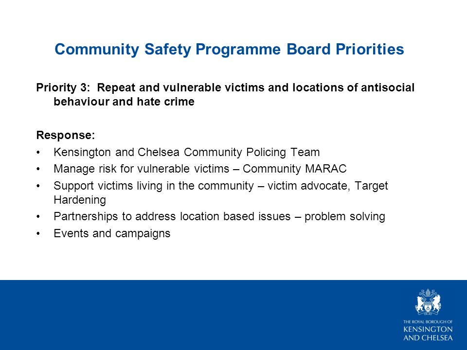 Community Safety Programme Board Priorities Priority 3: Repeat and vulnerable victims and locations of antisocial behaviour and hate crime Response: Kensington and Chelsea Community Policing Team Manage risk for vulnerable victims – Community MARAC Support victims living in the community – victim advocate, Target Hardening Partnerships to address location based issues – problem solving Events and campaigns