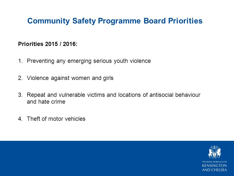 Community Safety Programme Board Priorities Priorities 2015 / 2016: 1.Preventing any emerging serious youth violence 2.Violence against women and girls 3.Repeat and vulnerable victims and locations of antisocial behaviour and hate crime 4.Theft of motor vehicles