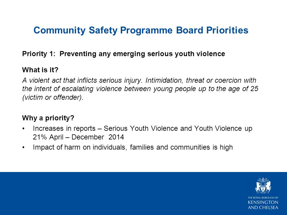 Community Safety Programme Board Priorities Priority 1: Preventing any emerging serious youth violence What is it.