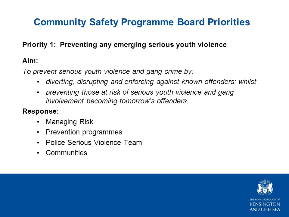 Community Safety Programme Board Priorities Priority 1: Preventing any emerging serious youth violence Aim: To prevent serious youth violence and gang crime by: diverting, disrupting and enforcing against known offenders; whilst preventing those at risk of serious youth violence and gang involvement becoming tomorrow's offenders.