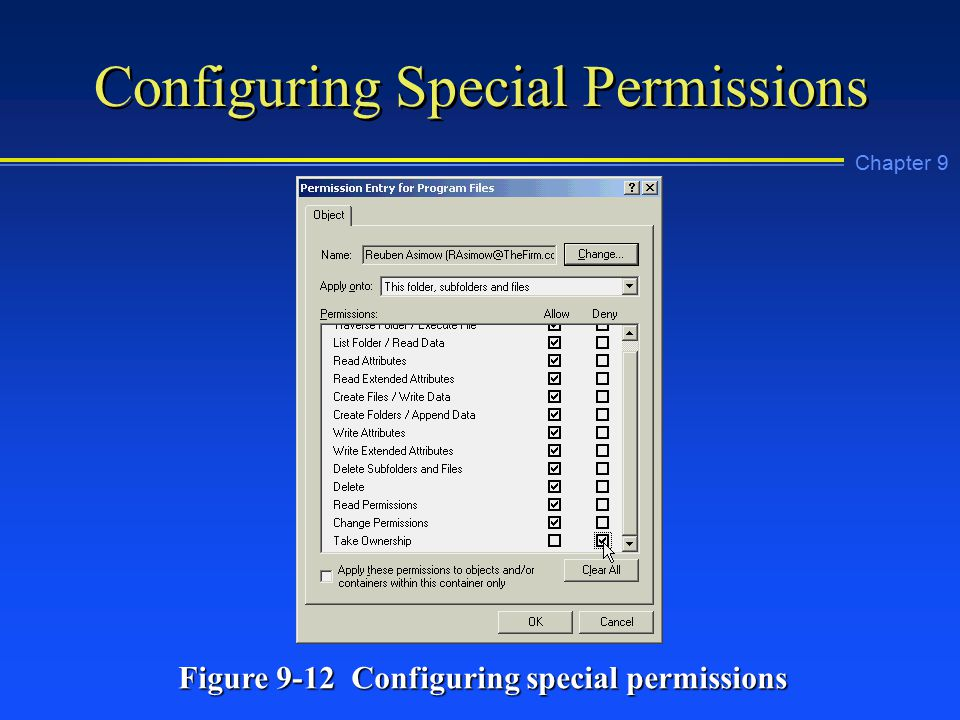 Chapter 9 Configuring Special Permissions Figure 9-12 Configuring special permissions