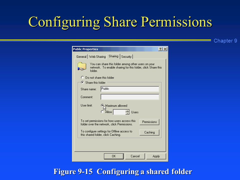 Chapter 9 Configuring Share Permissions Figure 9-15 Configuring a shared folder