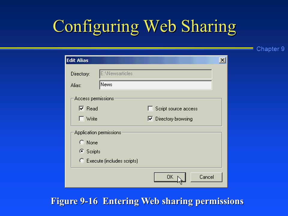 Chapter 9 Configuring Web Sharing Figure 9-16 Entering Web sharing permissions