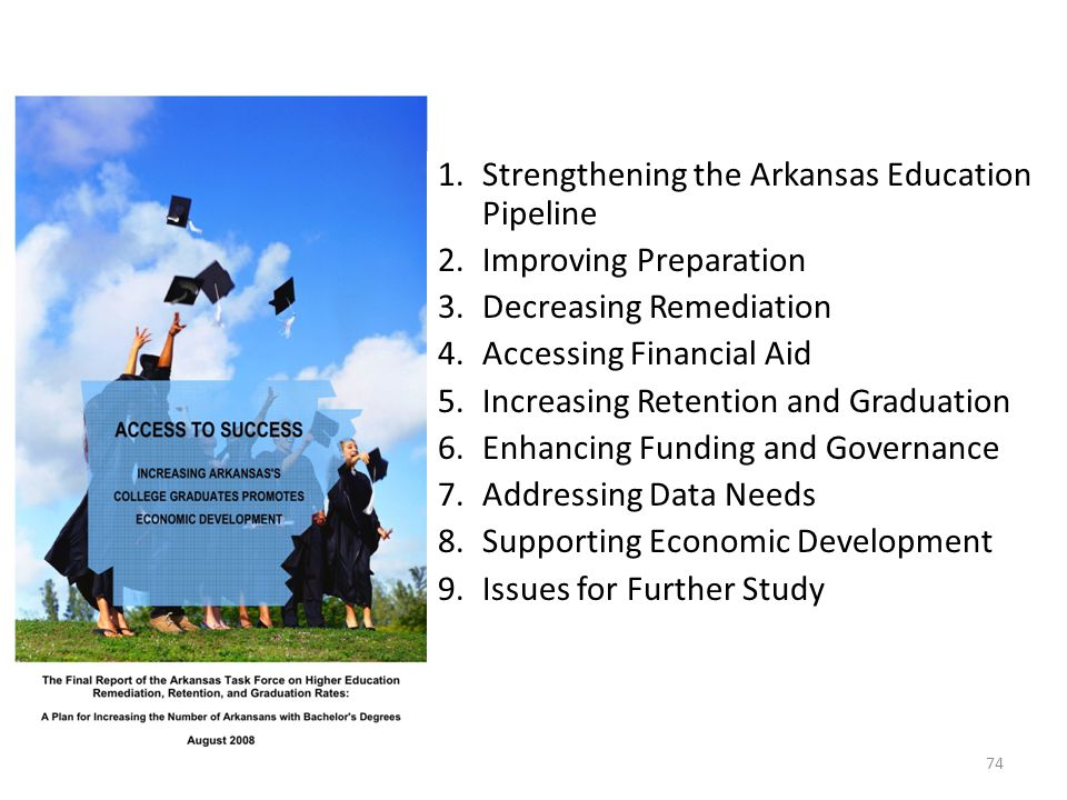 1.Strengthening the Arkansas Education Pipeline 2.Improving Preparation 3.Decreasing Remediation 4.Accessing Financial Aid 5.Increasing Retention and Graduation 6.Enhancing Funding and Governance 7.Addressing Data Needs 8.Supporting Economic Development 9.Issues for Further Study 74