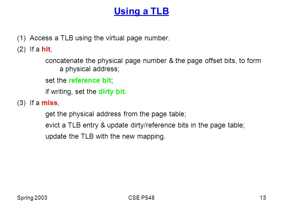 Spring 2003CSE P54813 Using a TLB (1) Access a TLB using the virtual page number.