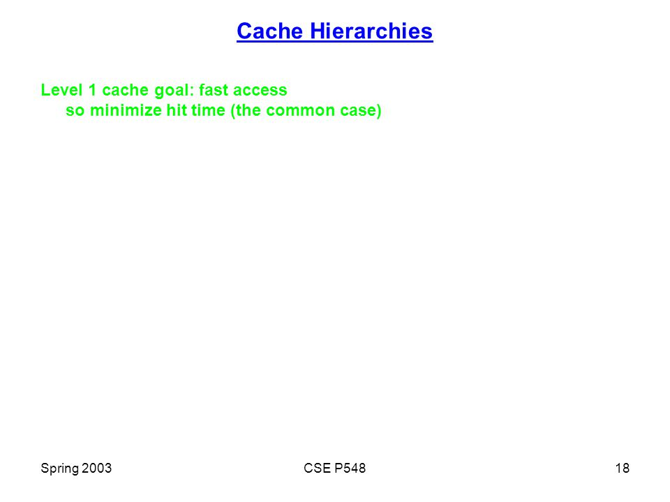 Spring 2003CSE P54818 Cache Hierarchies Level 1 cache goal: fast access so minimize hit time (the common case)