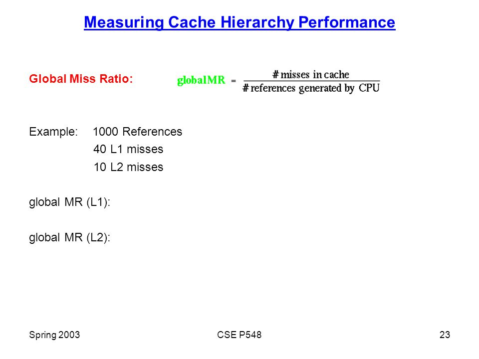 Spring 2003CSE P54823 Measuring Cache Hierarchy Performance Global Miss Ratio: Example: 1000 References 40 L1 misses 10 L2 misses global MR (L1): global MR (L2):