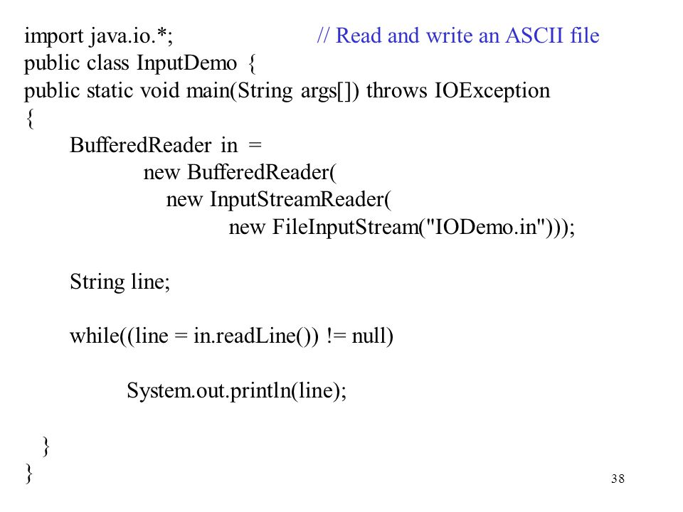 """1 Week 2 """"Just Java"""" by Linden chapters 4,5,13 Java I/O and"""