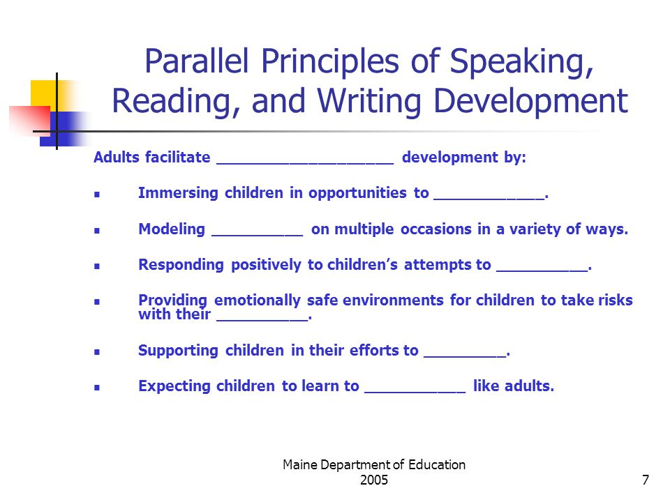 Maine Department of Education Parallel Principles of Speaking, Reading, and Writing Development Adults facilitate ___________________ development by: Immersing children in opportunities to ____________.