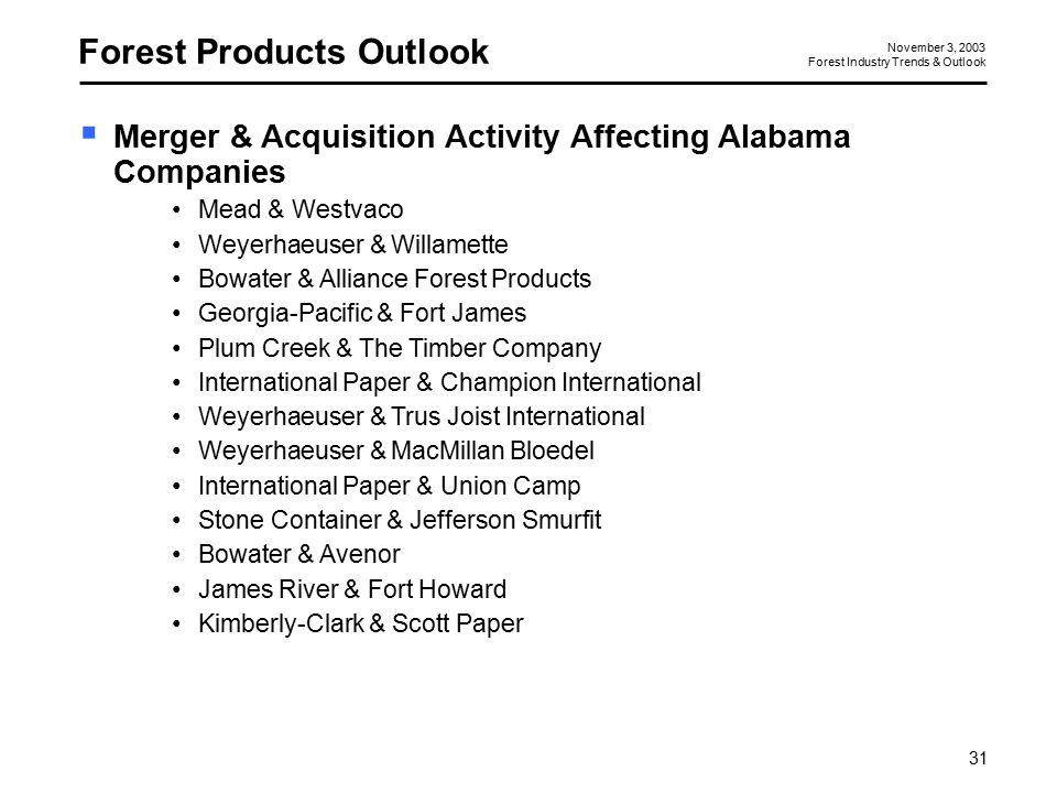 Forest Industry Trends and Outlook Second Butler/Cunningham
