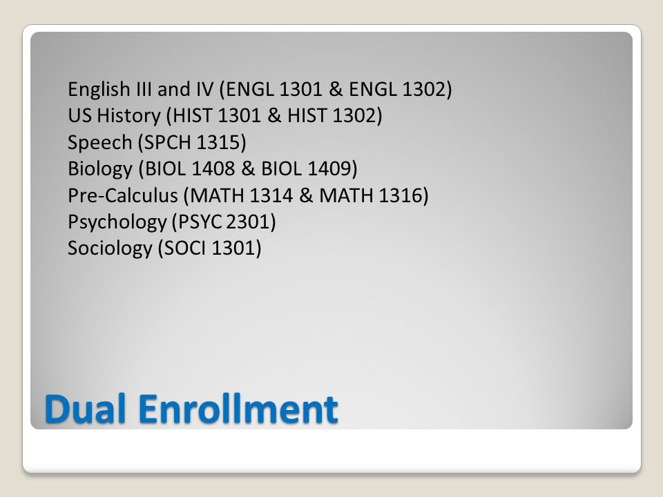 Dual Enrollment English III and IV (ENGL 1301 & ENGL 1302) US History (HIST 1301 & HIST 1302) Speech (SPCH 1315) Biology (BIOL 1408 & BIOL 1409) Pre-Calculus (MATH 1314 & MATH 1316) Psychology (PSYC 2301) Sociology (SOCI 1301)