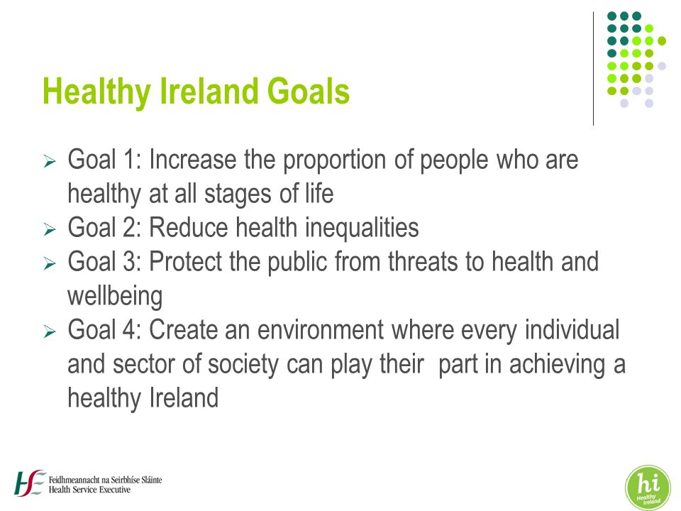 Healthy Ireland Goals  Goal 1: Increase the proportion of people who are healthy at all stages of life  Goal 2: Reduce health inequalities  Goal 3: Protect the public from threats to health and wellbeing  Goal 4: Create an environment where every individual and sector of society can play their part in achieving a healthy Ireland