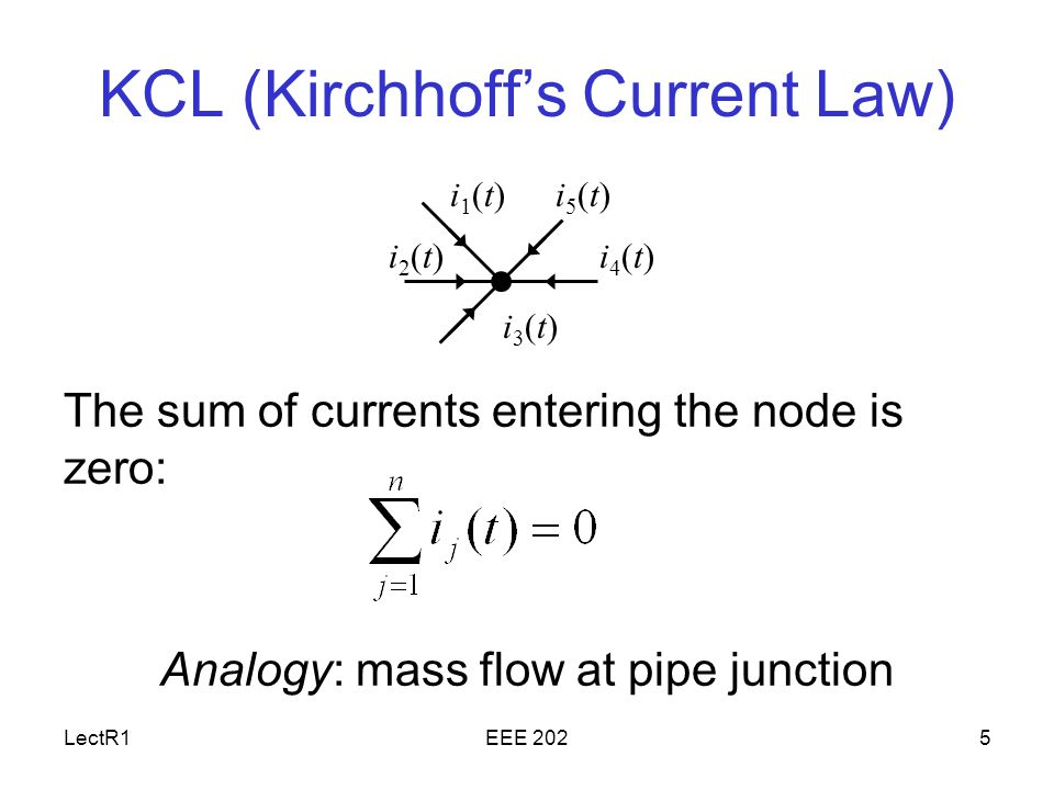 LectR1EEE 2025 KCL (Kirchhoff's Current Law) The sum of currents entering the node is zero: Analogy: mass flow at pipe junction i1(t)i1(t) i2(t)i2(t)i4(t)i4(t) i5(t)i5(t) i3(t)i3(t)