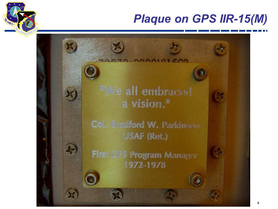 6 Plaque on GPS IIR-15(M)