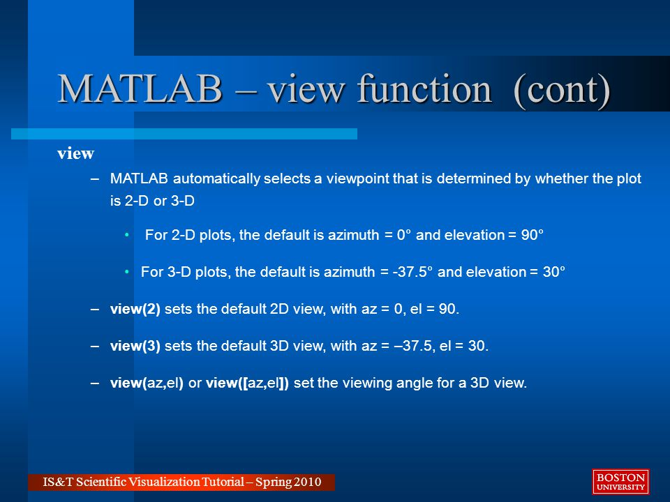Matlab for Visualization Ray Gasser IS&T Scientific Visualization