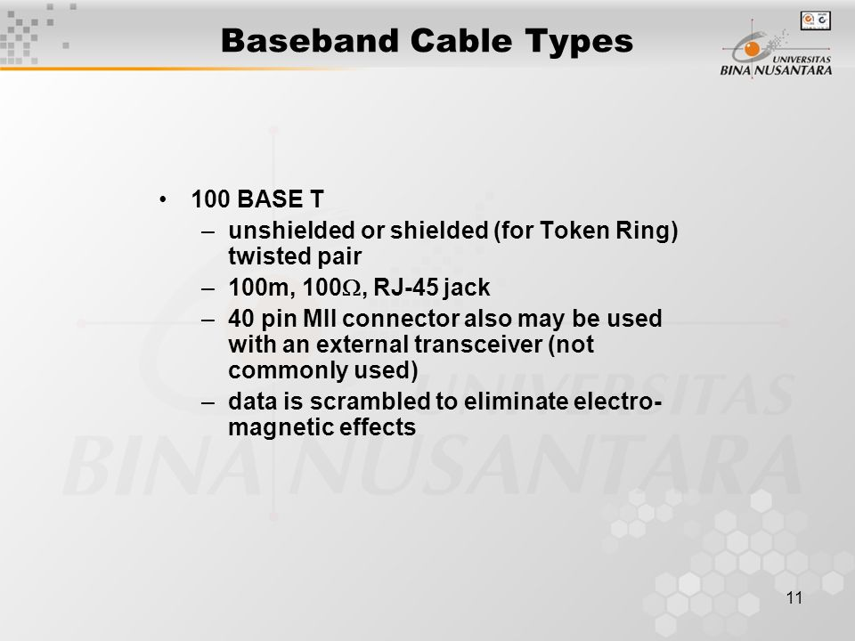 BASE T –unshielded or shielded (for Token Ring) twisted pair –100m, 100 , RJ-45 jack –40 pin MII connector also may be used with an external transceiver (not commonly used) –data is scrambled to eliminate electro- magnetic effects Baseband Cable Types