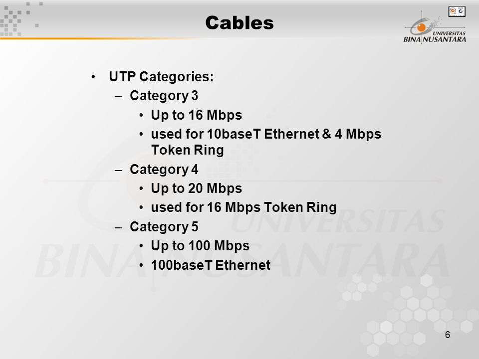 6 UTP Categories: –Category 3 Up to 16 Mbps used for 10baseT Ethernet & 4 Mbps Token Ring –Category 4 Up to 20 Mbps used for 16 Mbps Token Ring –Category 5 Up to 100 Mbps 100baseT Ethernet Cables