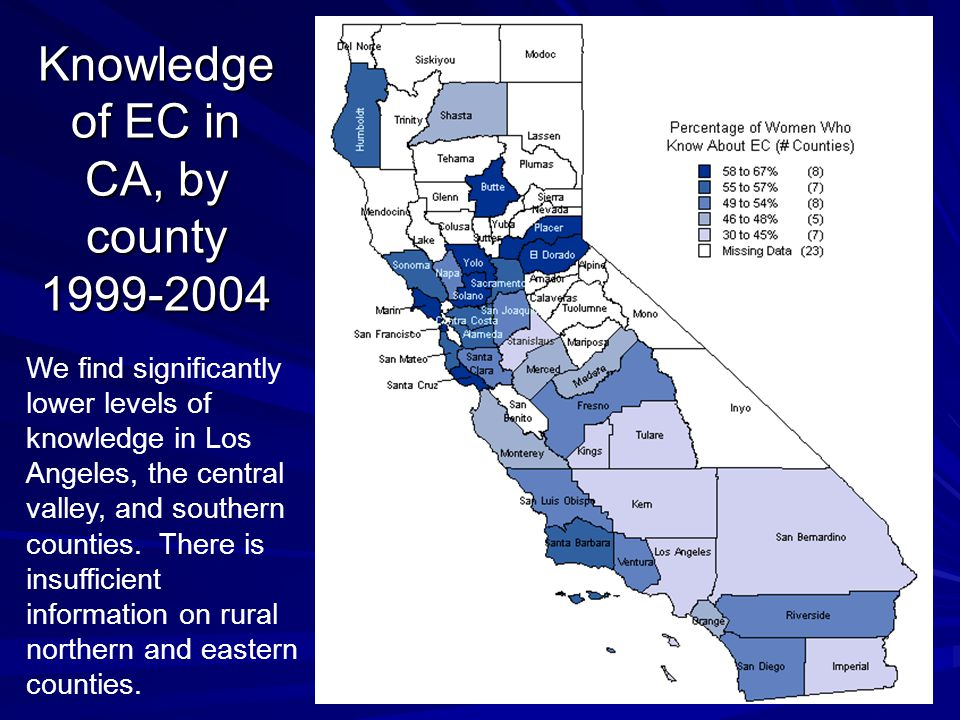 Knowledge of EC in CA, by county We find significantly lower levels of knowledge in Los Angeles, the central valley, and southern counties.