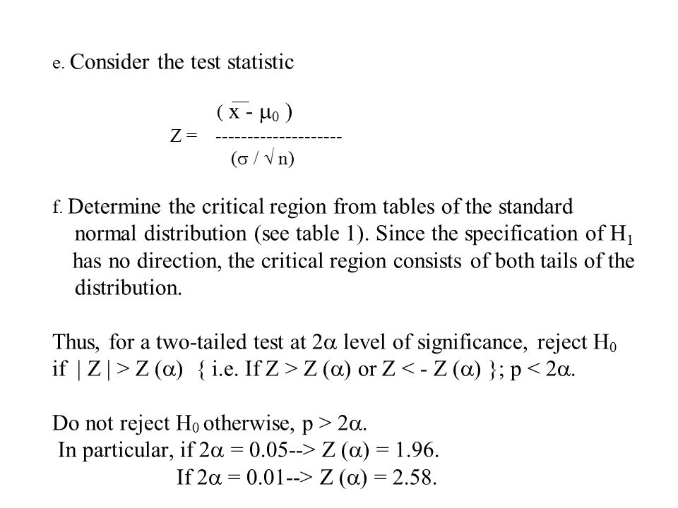 e. Consider the test statistic ( x -  0 ) Z = (  /  n) f.