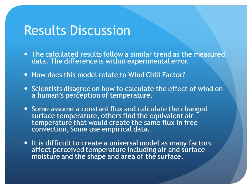 Results Discussion The calculated results follow a similar trend as the measured data.