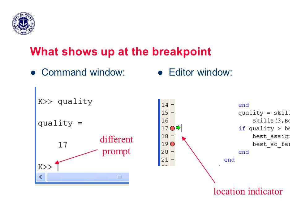 What shows up at the breakpoint Command window: Editor window: location indicator different prompt
