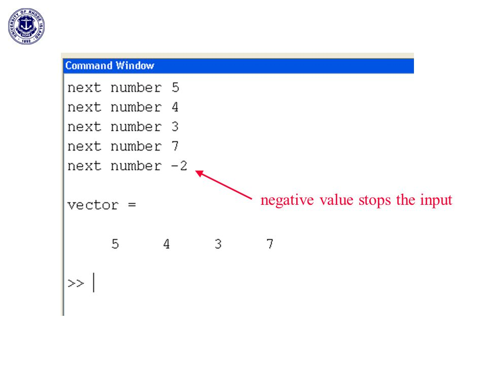 negative value stops the input